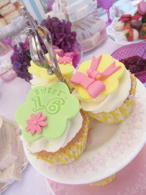 Sweet 16th Birthday Tea Party Cupcakes