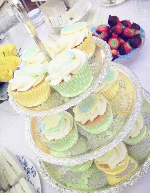 Yellow and Green Baby Shower Cupcakes at Tea Party